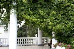 Spalten und Balustrade im Park lizenzfreies stockbild