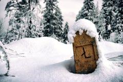 Spaltenzeichen umfasst mit Schnee lizenzfreie stockfotos