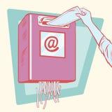 Spam, η ταχυδρομική θυρίδα και ένας καταστροφέας εγγράφων εγγράφου διανυσματική απεικόνιση