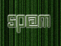 Spam. Word superimposed on computer generated matrix-like background Stock Photo