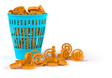 Spam. Basket with email signs Stock Photo