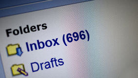 Spam. Email spam in inbox folder, many unread mails