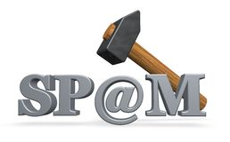 Spam. Hammer over the word spam with email alias - 3d illustration Royalty Free Stock Photo