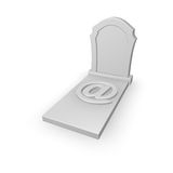 Spam. Gravestone with email symbol on white background - 3d illustration Royalty Free Stock Image