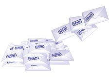 Spam. Growing heap of spam letters Stock Images