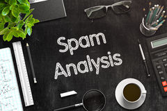 Spam Analysis on Black Chalkboard. 3D Rendering. Stock Photos