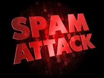 Spam Attack on Dark Digital Background. Royalty Free Stock Image