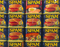 Spam Cans Display. AUSTIN, MINNESOTA - JUNE 21, 2017: A display of Spam Cans at the Spam Museum. The space is dedicated to Spam, the canned precooked meat Royalty Free Stock Photos