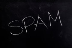 Spam on Chalkboard Royalty Free Stock Photo
