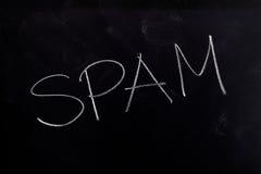 Spam on Chalkboard. Handwritten chalk text Spam on the blackboard royalty free stock photo
