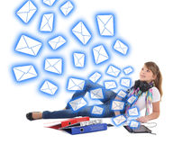 Spam concept - beautiful teenage girl with tablet pc Stock Photo