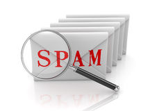 Spam Concept with Envelope and Magnify Glass Royalty Free Stock Image