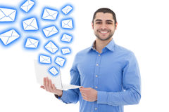 Spam concept - portrait of handsome arabic man sending messages Royalty Free Stock Photos