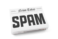Spam concept. Spam word writing on the front page of newspaper stack. Isolated on white background Stock Photos