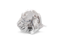 Spam - crumpled paper on white background Royalty Free Stock Photography