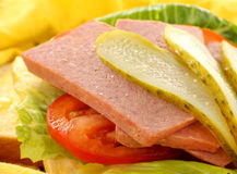 Spam And Dill Pickle. Spam lettuce and tomato with with dill pickles Stock Photos