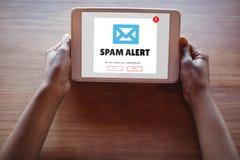 Spam do email na tela imagem de stock