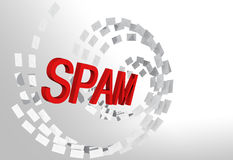 Spam e-mail concept with envelopes stream Stock Image