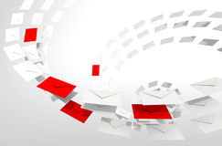 Spam e-mail concept with envelopes stream Royalty Free Stock Photography