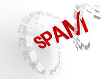 Spam e-mail concept with envelopes stream Royalty Free Stock Photo