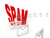 Spam e-mail concept with row of envelopes on white Stock Photos