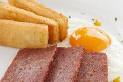 Spam e ovos Fotografia de Stock