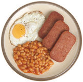 Spam, Egg and Beans. Fried spam with egg and baked beans Royalty Free Stock Images