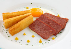Spam And Eggs. Fried spam and eggs with mustard and delicious fried toast fingers Royalty Free Stock Photo