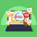 Spam Email Warning Window Appear On Laptop Screen. Concept of virus, piracy, hacking and security. Envelope with spam. Website banner of e-mail protection Stock Image