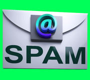 Spam Envelope Shows Junk Mail Electronic Spamming Stock Photography