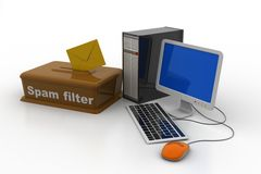 Spam filter in the personal computer. In white background Stock Photo