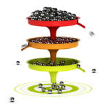 Spam Filter Process Concept. Three funnels with balls inside and green target - Abstract schematic 3D render concept image suitable for conceptual illustration Stock Images