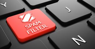 Spam Filter on Red Keyboard Button. Stock Photos