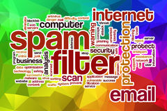Spam filter word cloud with abstract background Royalty Free Stock Images
