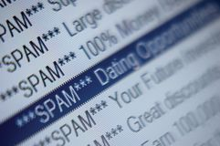 Spam Folder Listing Email Marketing Blacklist Stock Image