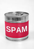 Spam food. Spam word on food can Royalty Free Stock Photos