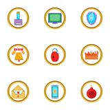 Spam icons set, cartoon style. Spam icons set. Cartoon illustration of 9 spam vector icons for web design Stock Photo