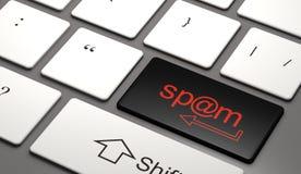 Spam il bottone sull'illustrazione della tastiera di computer 3d Immagini Stock