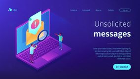 Spam isometric 3D landing page. stock images