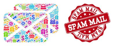 Spam Letters Composition of Mosaic and Textured Seal for Sales royalty free illustration
