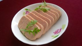 Spam(Luncheon Meat). Add spices (Spices) and Ham (Ham) made ​​of canned food. Mainly pork luncheon meat, chicken as raw material, adding a certain amount of Stock Photos