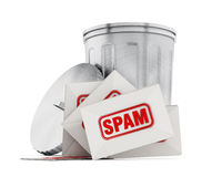 Spam mail. Isolated on white background Stock Photo