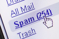 Spam in mailbox. Monitor screen showing spam in the mailbox Royalty Free Stock Image