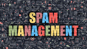 Spam Management Concept. Multicolor on Dark Brickwall. Stock Images