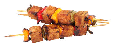 Spam Meat Kebabs With Sweet Peppers Stock Image
