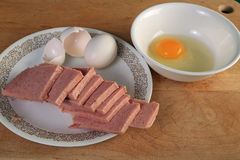 Spam Omelette Ingredients Stock Photo