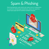 Spam and Phishing Isometric Concept Royalty Free Stock Image