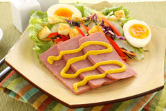 Spam And Salad. Sliced spam with mustard and a fresh garden salad Stock Image