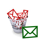 Spam. A trash full with spam mails Royalty Free Stock Photo