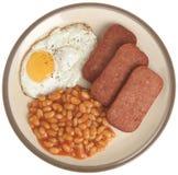 Spam, uovo e fagioli Immagini Stock Libere da Diritti